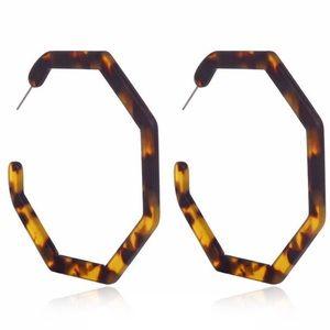 Acrylic Tortoise Shell Hoop Earrings